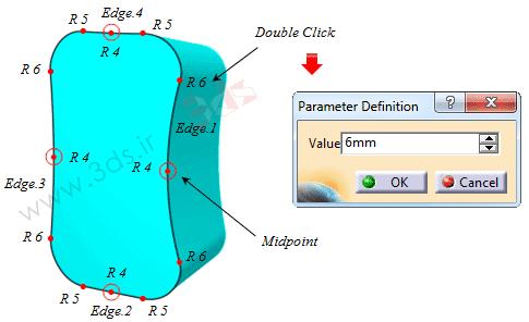 آموزش ابزار Variable Fillet در کتیا