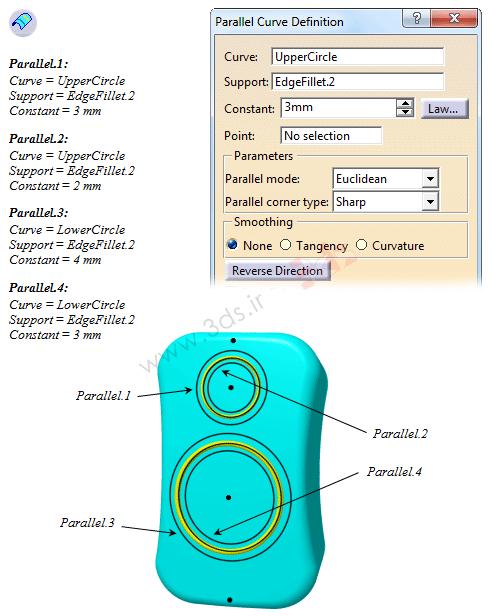 ابزار Parallel Curve از جعبهابزار Wireframe کتیا