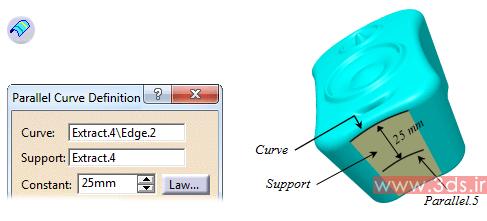 نحوه استفاده از دستور Parallel Curve کتیا