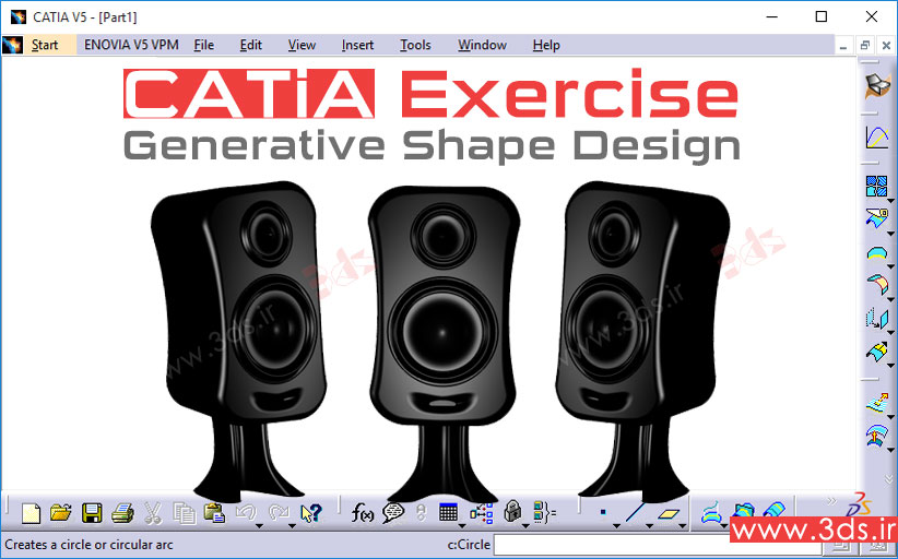 تمرین محیط Generative Shape Design نرمافزار کتیا|طراحی اسپیکر کامپیوتر