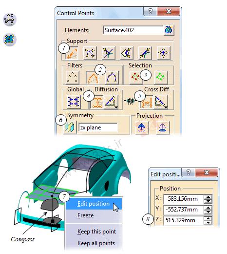 تنظیمات پنجره Control Points در محیط freestyle کتیا
