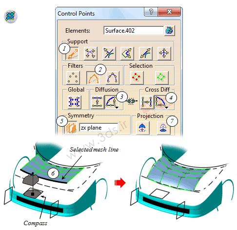 آموزش تصویر کردن لبه سطح بر روی یک صفحه در محیط FreeStyle نرمافزار کتیا