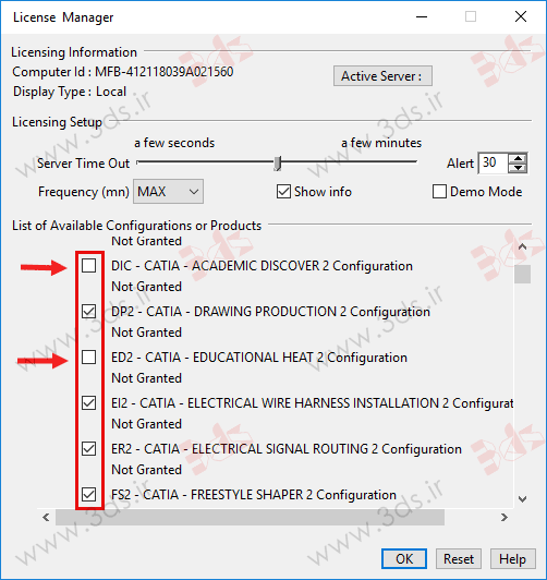 لیست محصولات کتیا 2016 در پنجره License Manager