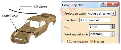 آموزش ابزار Curve Projection برای تولید منحنی اسکن در محیط ابر نقاط نرمافزار کتیا