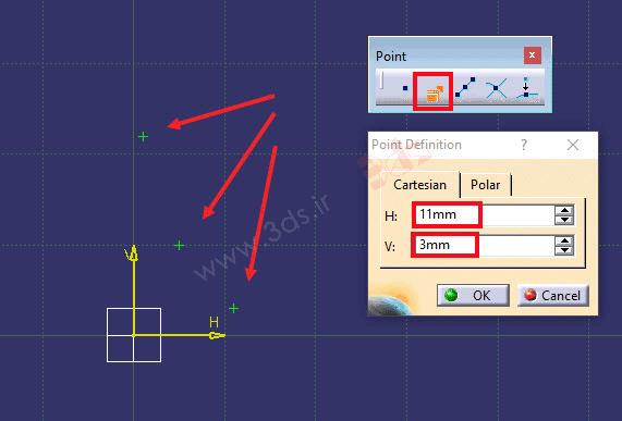 ترسیم دایره با استفاده از سه نقطه در نرمافزار کتیا