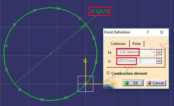 تنظیمات پنجره Point Definition کتیا