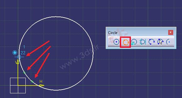 Fit کردن یک دایره بر روی سه نقطه در نرمافزار کتیا