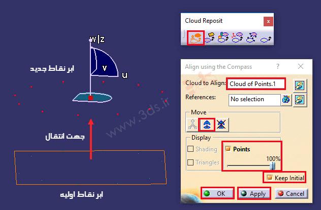 آموزش ابزار Align using the Compass در محیط ابر نقاط کتیا