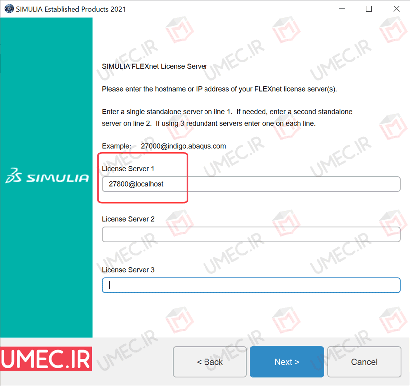 تنظیمات آباکوس 2021 License Server 1 و 27800@localhost